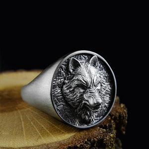Handmade Signet 3D Wolf Head Ring Oxidized 925 Sterling Silver