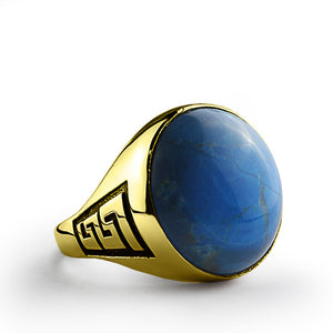 14k Yellow Solid Gold Men's Ring with Natural Blue Turquoise Stone - J  F  M