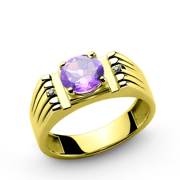 10k Yellow Solid Gold Men's Ring with Amethyst Gemstone and Natural Diamonds - J  F  M