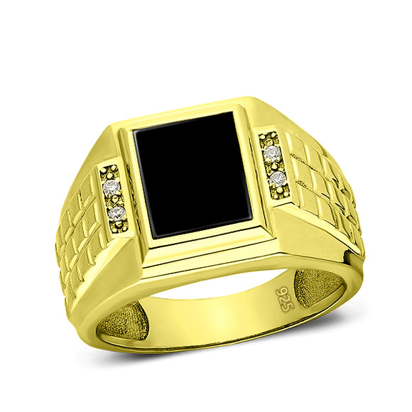 Mens 18K Yellow Gold Plated Silver Ring With Black Onyx and 4 Natural Diamonds