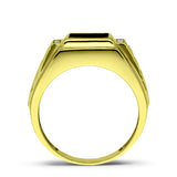 18K Solid Yellow Fine Gold Black Onyx Mens Ring with 4 Natural Diamond Accents