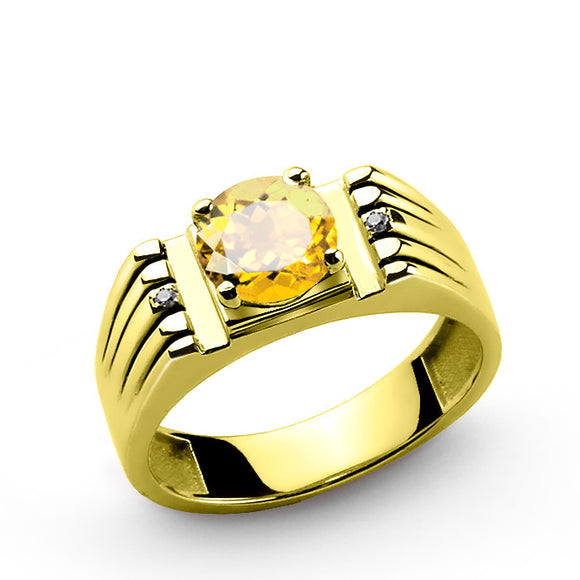 Men's Ring in 10k Gold with Yellow Citrine Gemstone and Natural Diamonds - J  F  M
