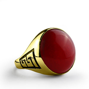 Men's Ring with Red Agate Gemstone in 14k Yellow Gold - J  F  M