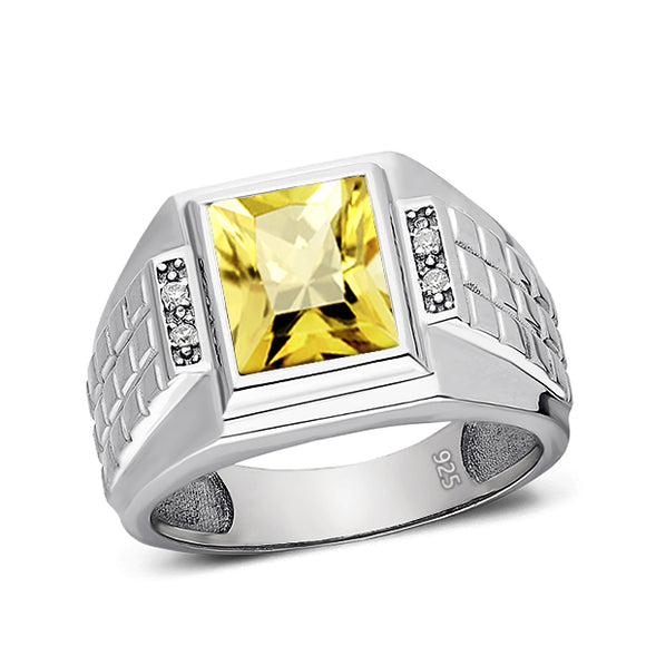 Citrine Ring for Men 4 Diamond Accents in Real 925 Solid Sterling Silver Ring