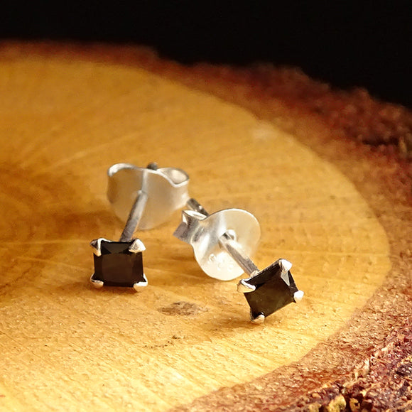 925k Sterling Silver Mens Stud Earrings with Black Cubic Zirconia
