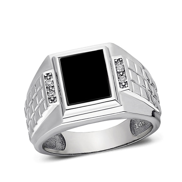 Solid 14K White Gold Estate Geometric Vintage Design Mens Onyx and Diamond Ring