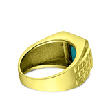 Real Fine 14K Yellow Gold Turquoise Mens Ring with 0.08ct Natural 4 Diamonds