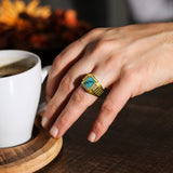18K Gold Plated on 925 Solid Silver Mens Turquoise Ring With 4 Diamond Accents
