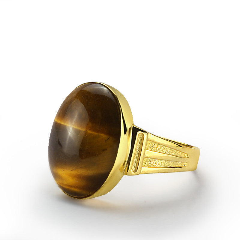 Brown Tiger's Eye Men's Ring in 10k Yellow Gold, Natural Stone Ring for Men - J  F  M