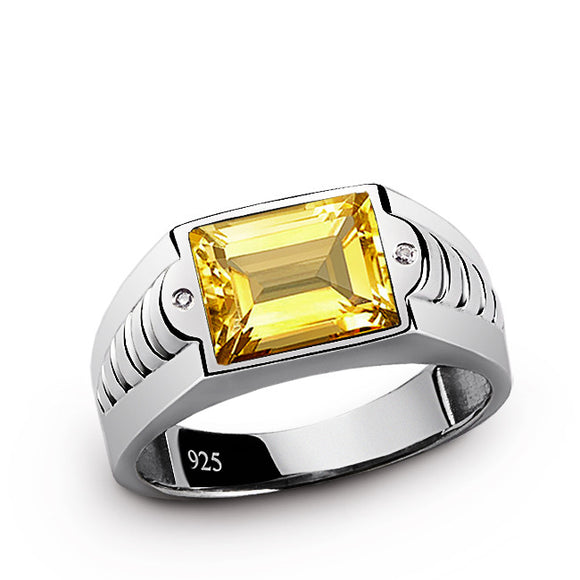 Men's Ring with Diamonds and Yellow Citrine in 925 Sterling Silver - J  F  M