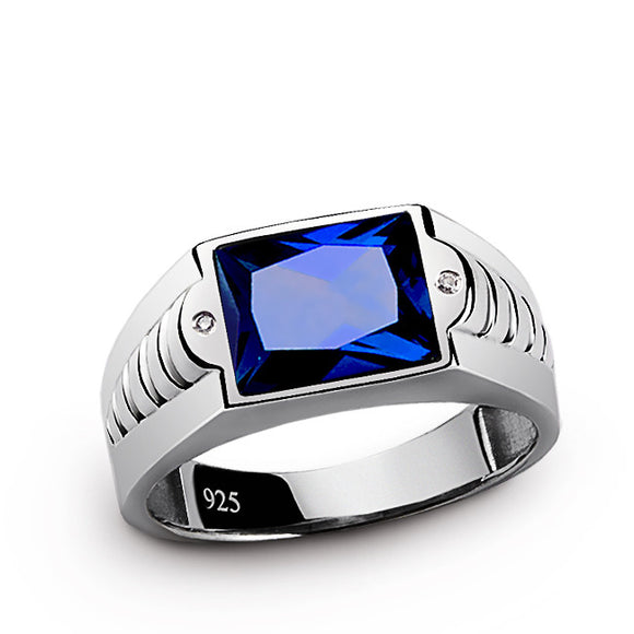 Men's Sapphire Ring with Diamonds in 925 Sterling Silver - J  F  M
