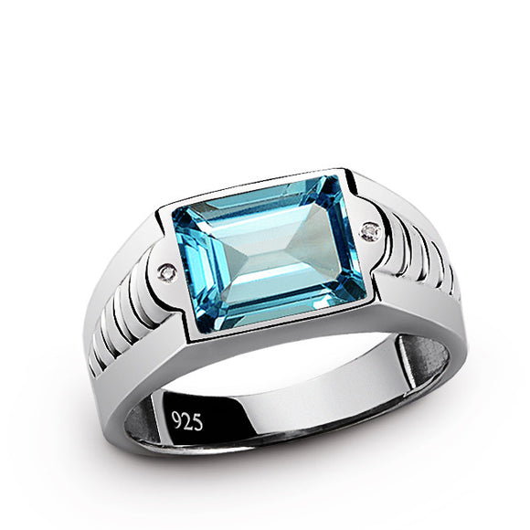 Men's Ring Solid Sterling Silver with Diamonds and Topaz Gemstone - J  F  M