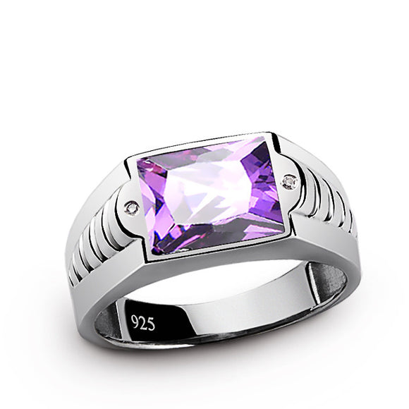Men's Amethyst Ring with Natural Diamonds in 925 Sterling Silver - J  F  M