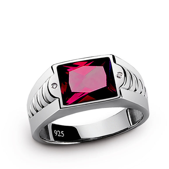 Ruby Men's Ring in 925 Sterling Silver with Genuine Diamonds - J  F  M