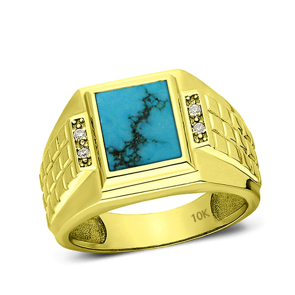 Solid Real 10K Yellow Fine Gold Turquoise Ring for Men with 4 Natural Diamonds