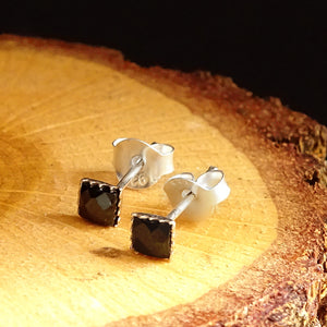 Mens Stud Small Earrings Solid 925k Sterling Silver with Black CZ