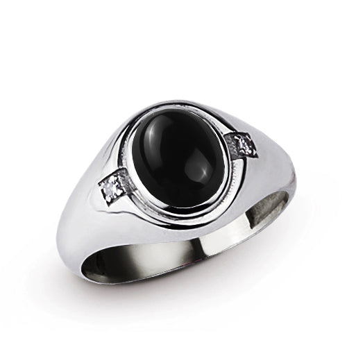 Classic Black Onyx Mens Ring with 2 DIAMOND Accents in Real 925 Sterling Silver