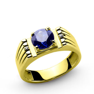 Men's Ring with Blue Sapphire and Natural Diamonds in 10k Yellow Gold - J  F  M