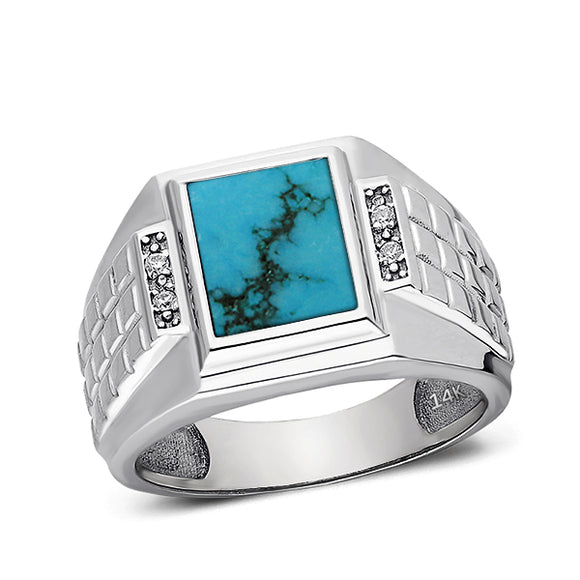 Mens Solid 14K White Gold Turquoise Ring 0.08ct Natural 4 Diamonds Ring for Man