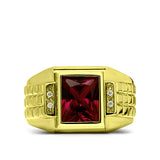 925 Solid Silver Mens Red Ruby Ring 18K Gold Plated With 4 Diamond Accent All Sz