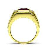 18K Real Yellow Fine Gold Red Ruby Mens Ring with 4 Natural Diamond Accents