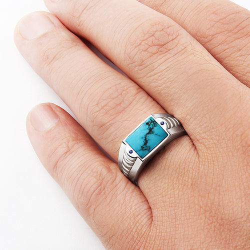 Blue Gemstone Ring for Man Natural Turquoise with 2 Sapphires in Solid 925 Silver
