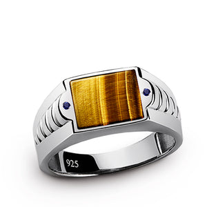 Men's Gemstone Ring in 925 Sterling Silver with Natural Tiger's Eye and 2 Sapphires