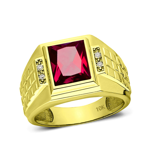 Solid 10K Yellow Fine Gold Red Ruby Mens Ring with 0.08ct Natural Diamonds