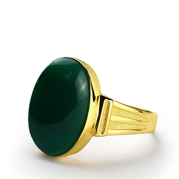 Men's Ring with Green Agate Stone in 14k Yellow Gold - J  F  M