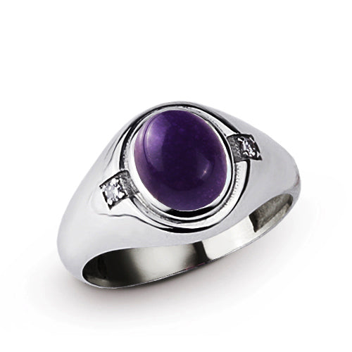 Classic Purple Amethyst Mens Ring with 2 DIAMOND Accents in Real 925 Sterling Silver