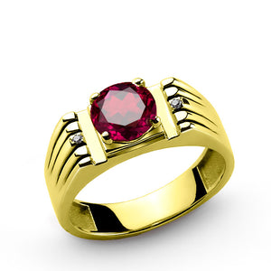 Men's Ring with Red Ruby and Genuine Diamonds in 10k Yellow Gold - J  F  M