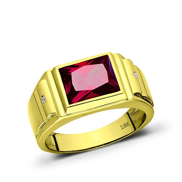 18K Solid Yellow Gold Jewlery Red Ruby Mens Ring with 2 Natural Diamonds Accents