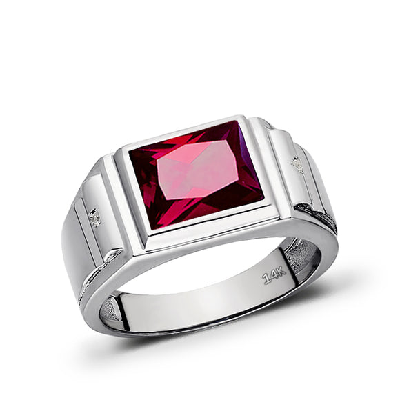 Mens Real 14K White Gold Red Ruby Ring 0.04ct Natural Heavy Diamond Ring for Men