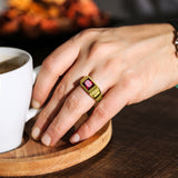 New 18K Gold Plated Silver Mens Red Ruby Ring With 2 Real Diamond Accents Any Sz