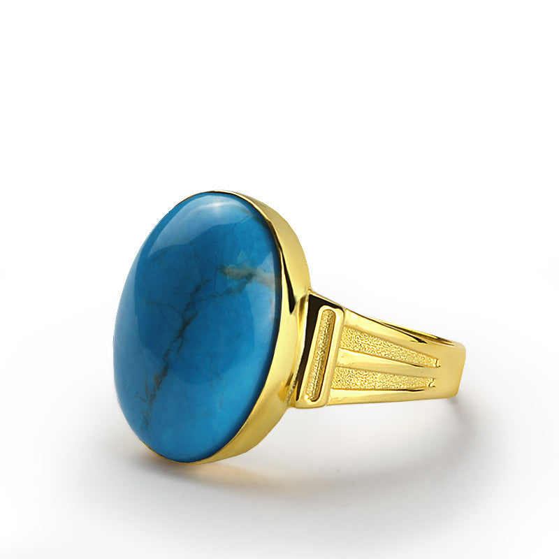 Blue Turquoise Men's Ring in 10k Yellow Gold, Natural Stone Ring for Men - J  F  M