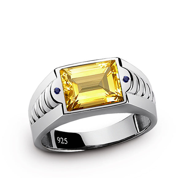 Men's Ring with Citrine Gemstone and Blue Sapphires in 925 Sterling Silver - J  F  M