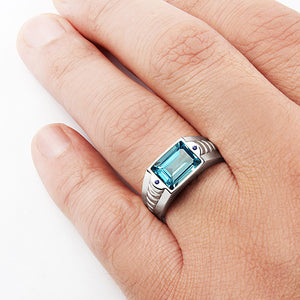 Solid Sterling Silver Men's Topaz Ring with Blue Sapphire Accents - J  F  M