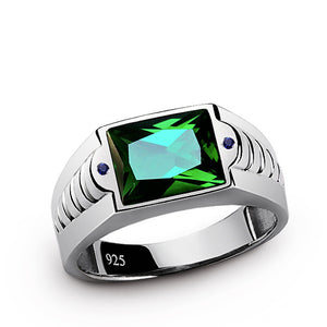 Green Emerald Men's Ring with Blue Sapphire Accents in Sterling Silver - J  F  M