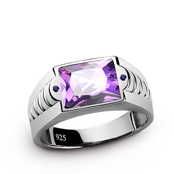 Amethyst Men's Ring with Blue Sapphire Accents in 925 Sterling Silver - J  F  M