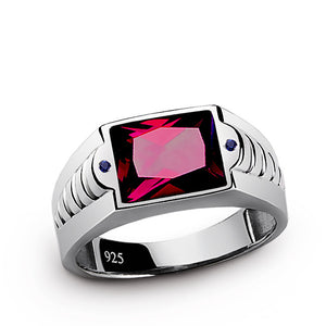 Red Ruby Men's Ring in 925 Sterling Silver with Blue Sapphire Accents - J  F  M