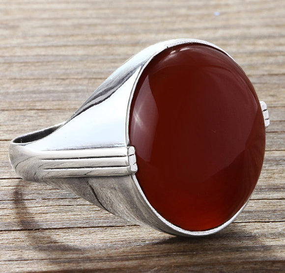 Men's Sterling Silver Ring with Natural Red Agate Gemstone - J  F  M