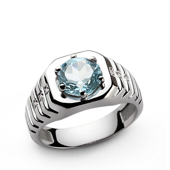 Sterling Silver Men's Ring with Genuine Diamonds and Topaz Gemstone - J  F  M