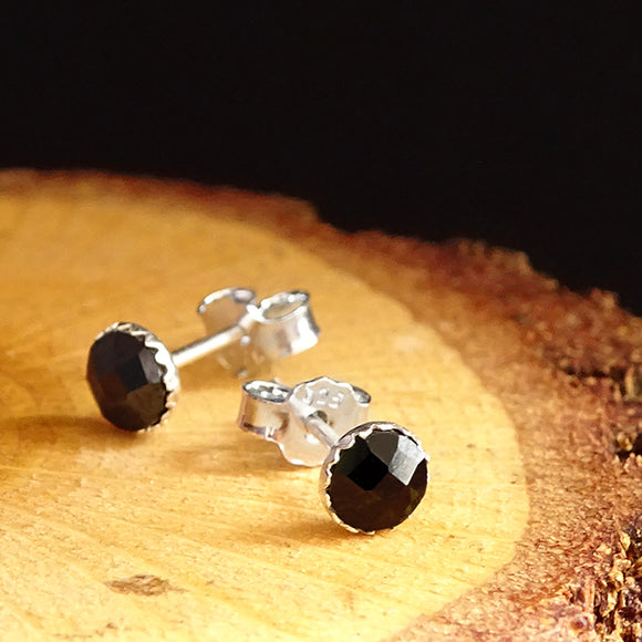 925k Sterling Silver Mens Very Small Stud Earrings with Black CZ