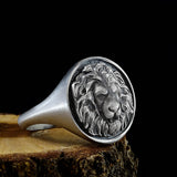 Lion Head Ring For Men Oxidized 925 Sterling Silver Handmade Jewelry