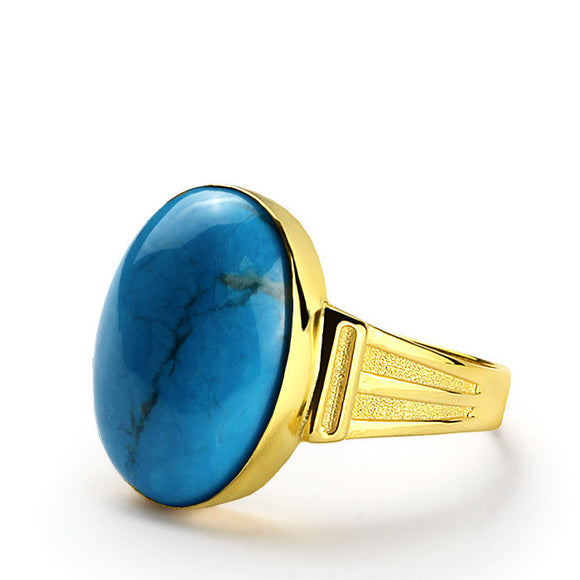 Men's Ring with Blue Turquoise in 14k Yellow Gold, Natural Stone Ring for Men - J  F  M