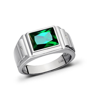 Solid 14K Heavy White Gold Masculine Ring Green Emerald and 2 Diamonds Size 5-15