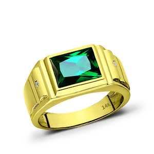 Men Rectangular Signet Ring Real 14k Solid Yellow Gold Emerald and 2 Diamonds