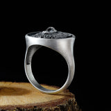 Bear Head Handmade Signet Oxidized 925 Sterling Silver Mens Ring