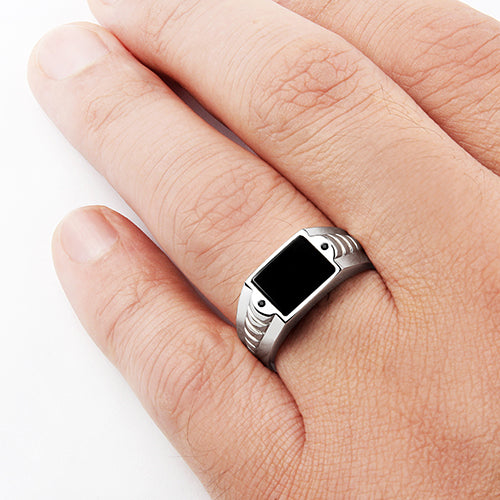 Black Gemstone Ring for Man Natural Onyx with 2 Accents Stones in 925 Silver