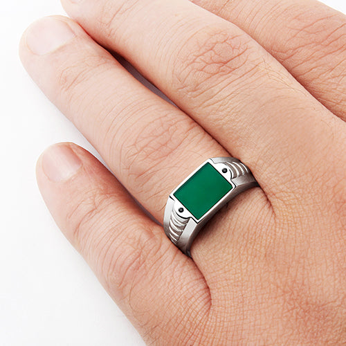 Green Gemstone Ring for Men Natural Agate with 2 Black Onyx in Solid 925 Silver